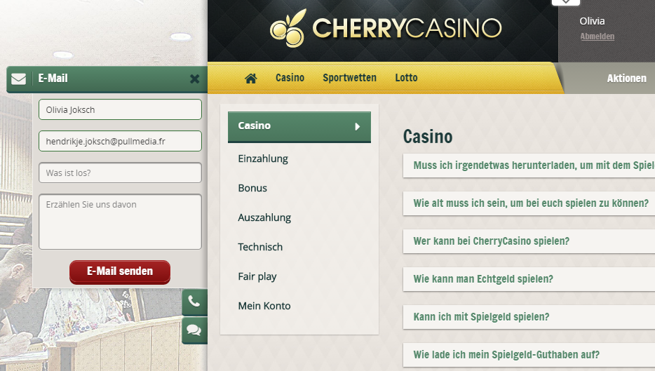 cherry-casino-kundenservice screenshot