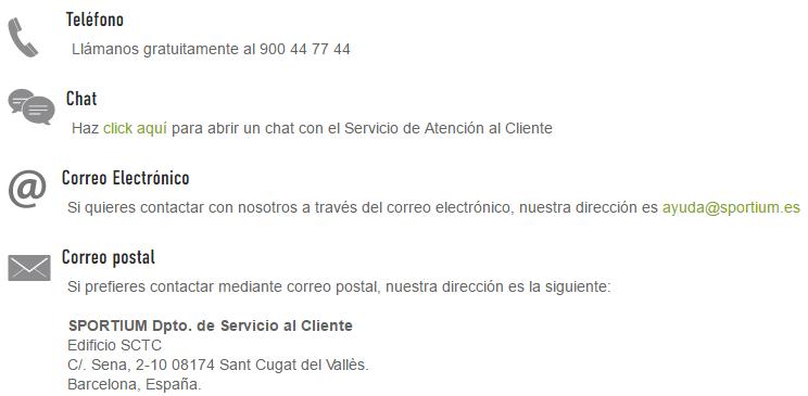 Atención al Cliente Sportium