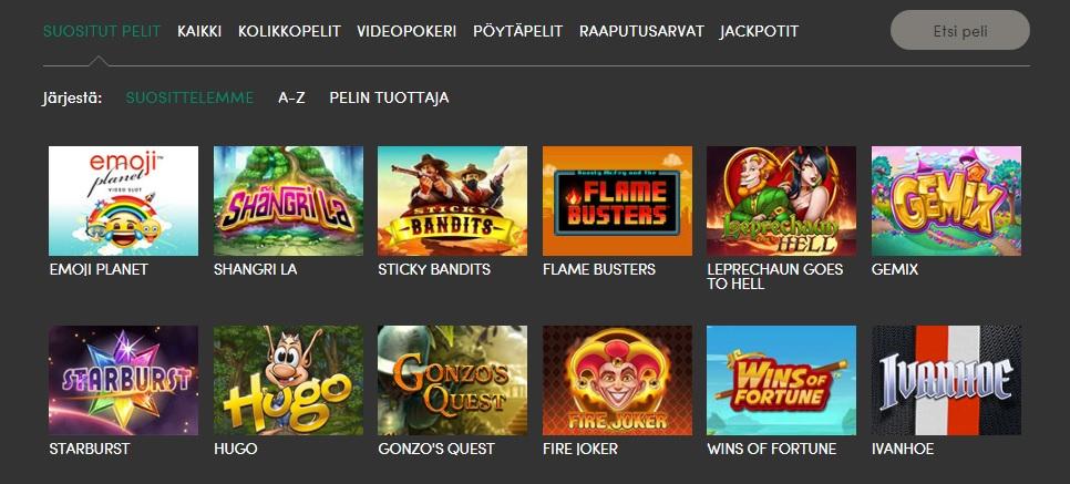 Casinohuone kasinopelit