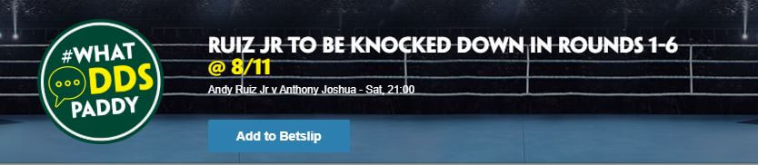 Ruiz Jr vs Joshua betting with Paddy power